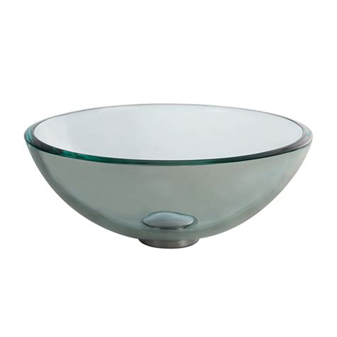 glass sink shop kraus clear tempered glass vessel round bathroom sink at lowes com