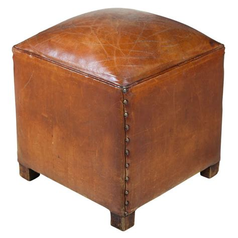 square leather pouf ottoman french square leather poof ottoman at 1stdibs
