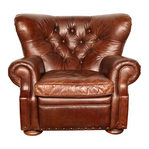 churchill leather recliner by restoration hardware chairish