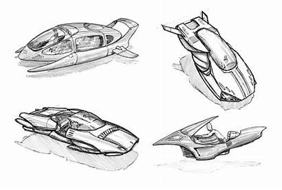 Futuristic Flying Cars Drawings Concept Hoover Vehicles