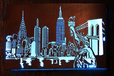 laser cut new york skyline metal art design with