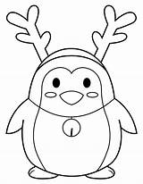 Reindeer Coloring Antlers Penguin Wearing Pages Printable sketch template