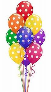 Bright colored balloons with white polka dots Festive