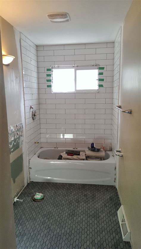 bathroom renovation 4 quot x 16 quot white subway tile shower