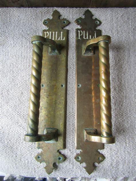 large salvaged antique brass door handles  hotel pull