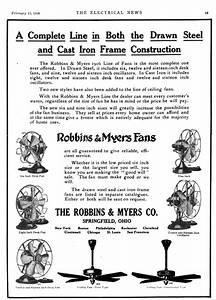 Early Electric Fans  Robbins  U0026 Myers List 1404 Desk Fans  1911