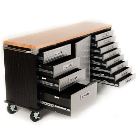 buy   timber top roll cabinet rolling garage storage