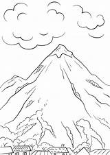 Coloring Mountains Pages Printable sketch template