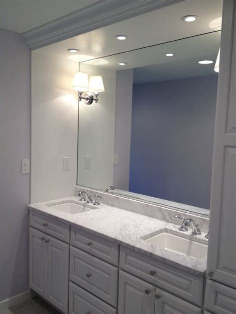 Built In Vanity Cabinets For Bathrooms by Built In Vanity White Cabinets Traditional Bathroom