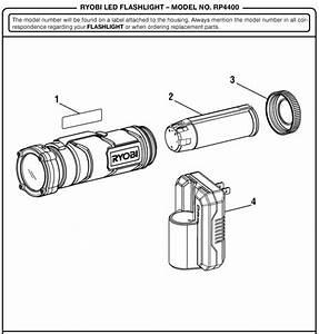 Ryobi Rp4400 Tek4 Led 4 Volt Flashlight Parts And