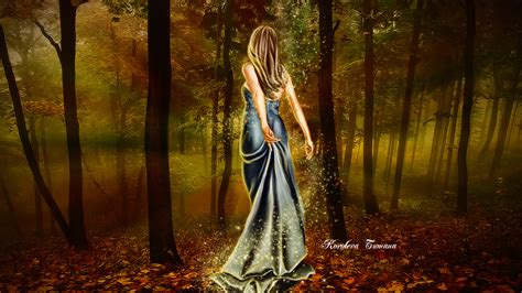 fantasy girl  autumn forest hd wallpaper hintergrund
