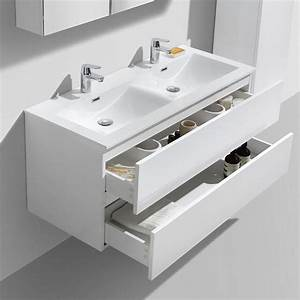 Meuble Double Vasque Suspendu : meuble salle de bain design double vasque siena largeur 120 cm blanc le monde du bain ~ Melissatoandfro.com Idées de Décoration