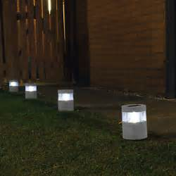 solar powered led lights stone effect l garden path