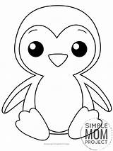 Penguin Coloring Printable Pages Simple Mom sketch template
