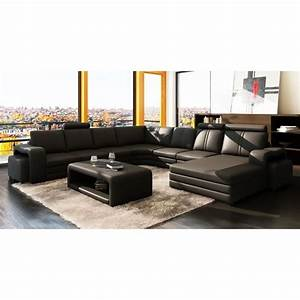 canape d39angle panoramique cuir noir 10 places hav achat With canapé d angle cuir 6 8 places