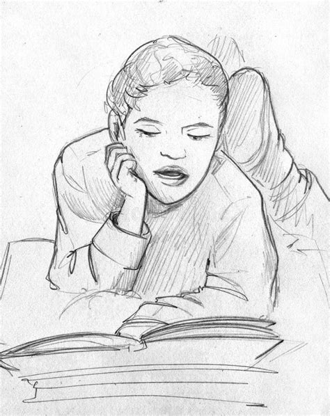 Child Reading A Book - Pencil Sketch Stock Illustration