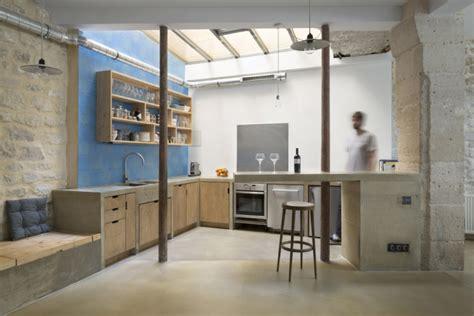 loft cuisine cuisine de loft en bois brut