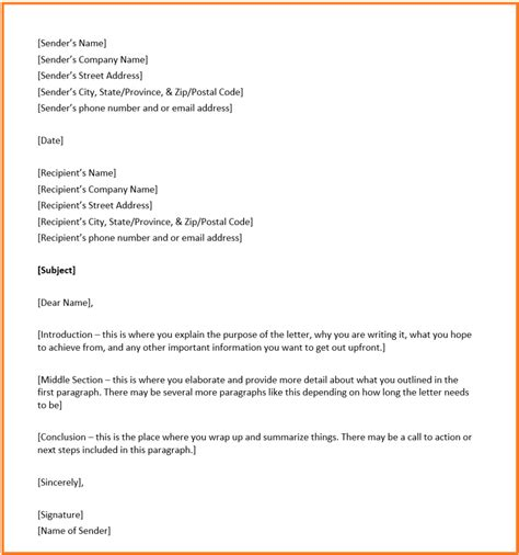 business letter format overview structure