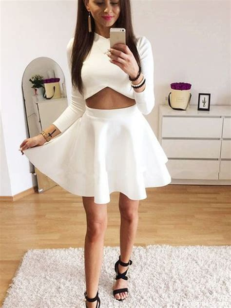 Cute A Line Two Piece Round Neck Long Sleeves White Short ...