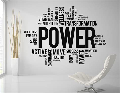 motivation quotes power fitness words wall decal gym