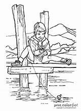 Fishing Pier Boy Grandpa Lake Coloring Dock River Template Fish Camping Boat Printcolorfun Birthday sketch template