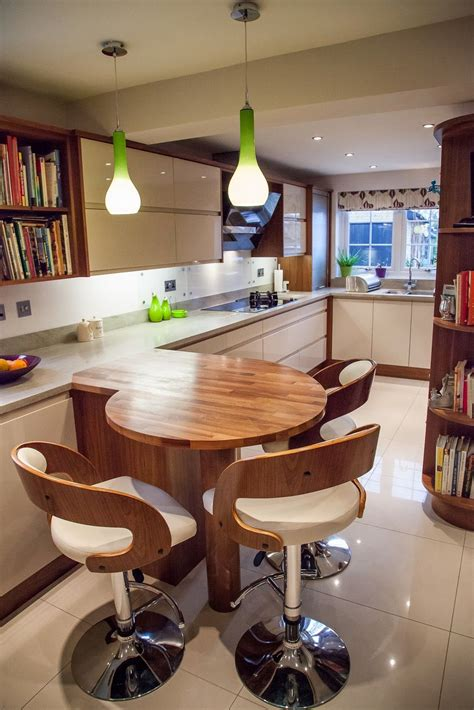 Bar Ideas For Small Kitchens by Wooden Breakfast Bar Situating Lime Green