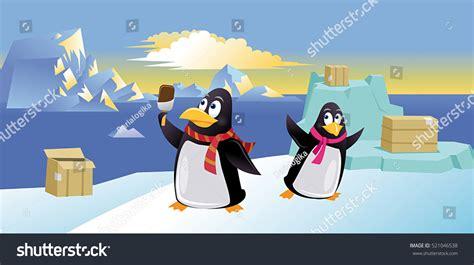 Cute Penguins Ice Cream Vector Illustration Stock Vector