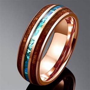 Tungsten Mens Ring Rose Gold Wedding Band 6mm Size 7 14