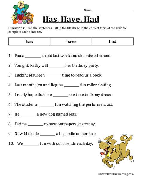 verb worksheet has had teaching