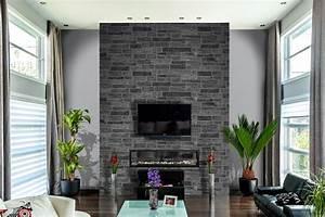 Mur interieur en pierre fashion designs for Salle de bain design avec boites à archives décoratives