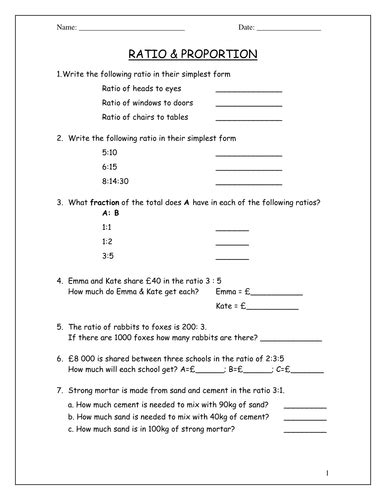 ratio worksheets ks3 with answers ks3 maths worksheets ratio proportion by beachman0274