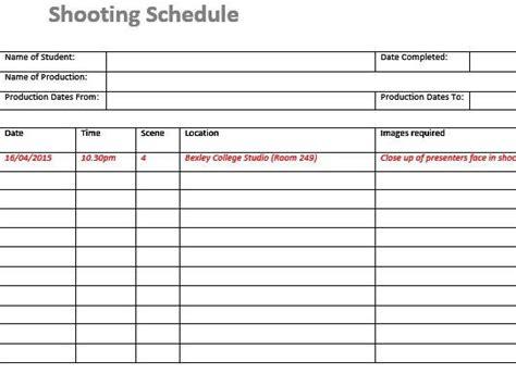 shooting schedule film tvmedia students