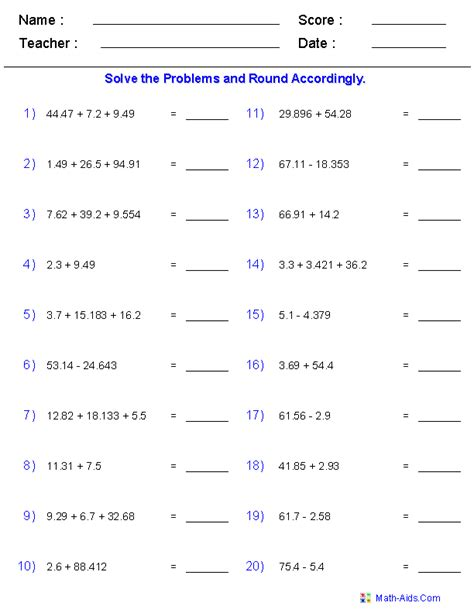 Adding Subtracting Integers Worksheets  Positive And Negative Integers Worksheets