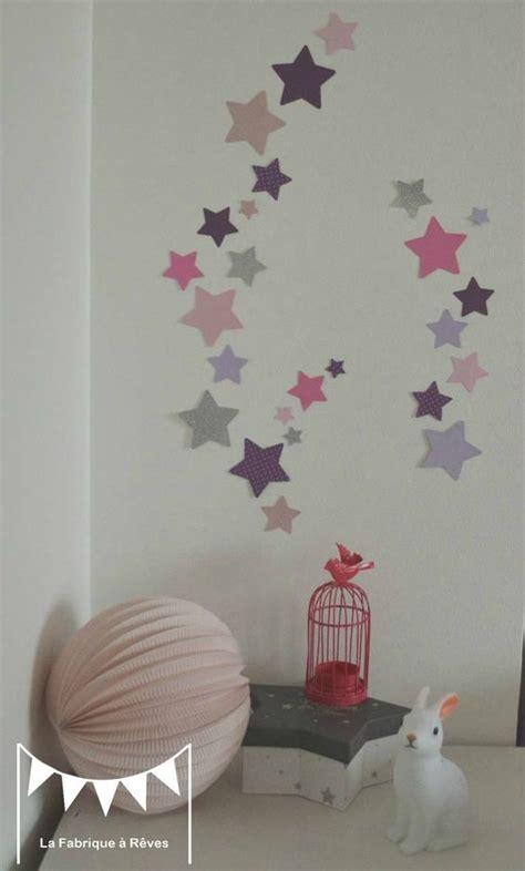 deco chambre bebe fille violet lot stickers étoiles parme violet argent décoration