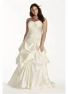 satin ruched drop waist plus size wedding dress david39s With plus size drop waist wedding dress