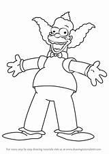 Simpsons Clown Krusty Draw Drawing Cartoon Characters Step Coloring Cartoons Simpson Drawings Drawingtutorials101 Animated Tutorials Character Los Movies Homer Para sketch template