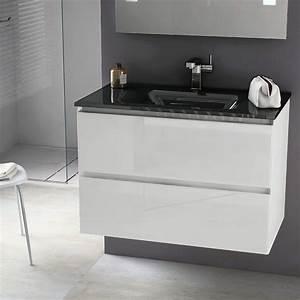 3 Suisses Meuble Salle De Bain : meuble 81 cm blanc brillant vasque verre 3 finitions cordoue ~ Teatrodelosmanantiales.com Idées de Décoration