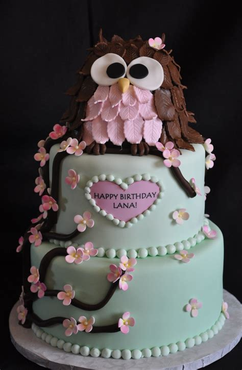 birthday owl cake cakes themed cakecentral pretty really pink owls baby shower children cute viva collect cupcake designs 3d later