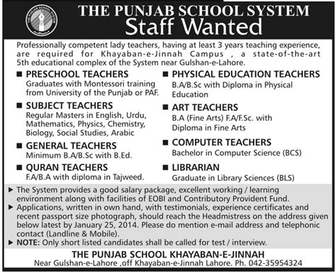 subject teachers the punjab school system 139 | Subject Teachers Job The Punjab School System Job Preschool Teachers Physical Education Teachers 5 Jan 2014