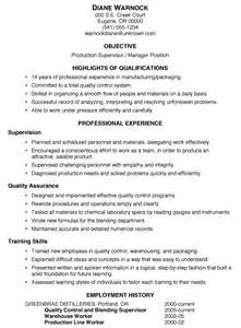 manufacturing supervisor resume sles resume sle production supervisor manager