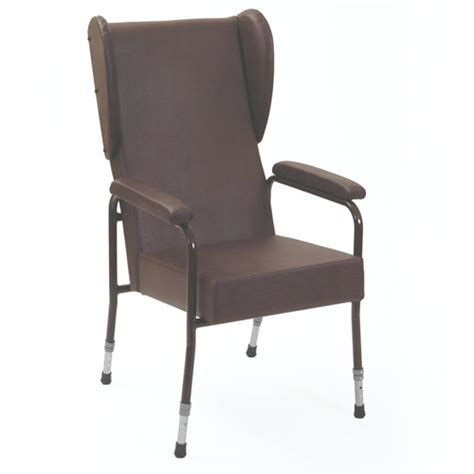 adjustable high back chair with padded arms and wings