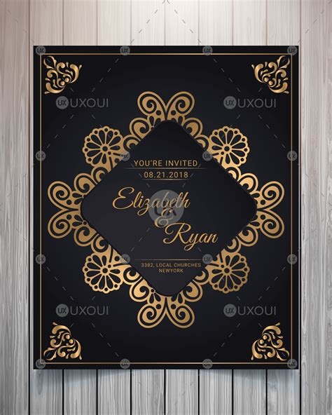 Vintage wedding invitation card design template vector