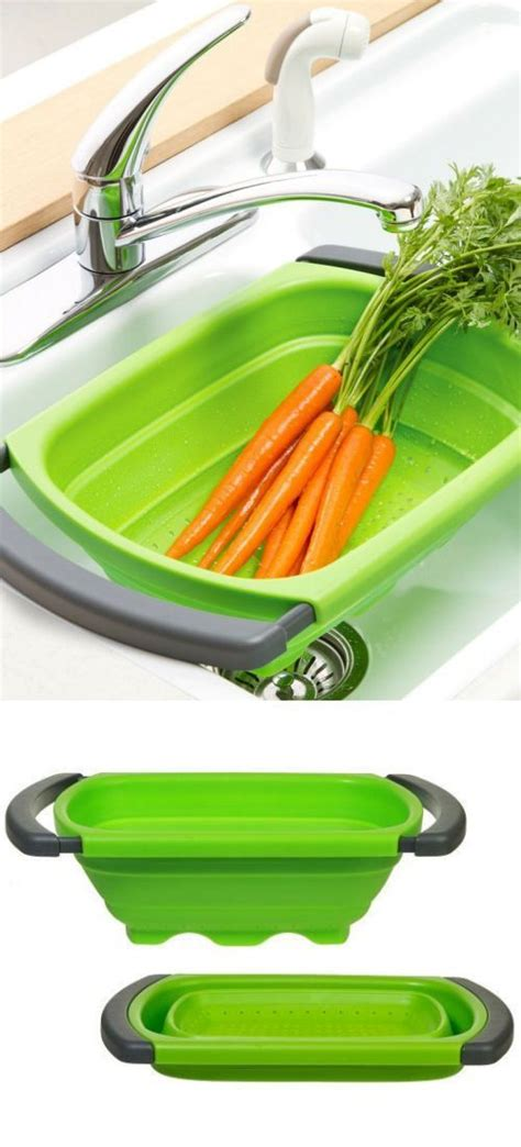 collapsible space saving   sink colander cooking