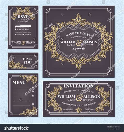 Wedding Cards Collection Wedding Invitation Thank Stock
