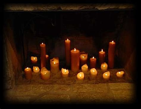 candles in fireplace for a mantle with no hearth improvised