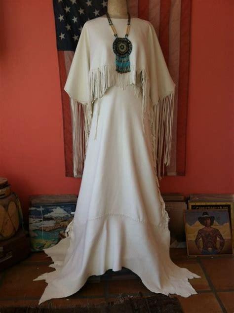 Native American White Buckskin Wedding Dress