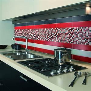 awesome carrelage gris mur rouge photos design trends With carrelage mur cuisine moderne