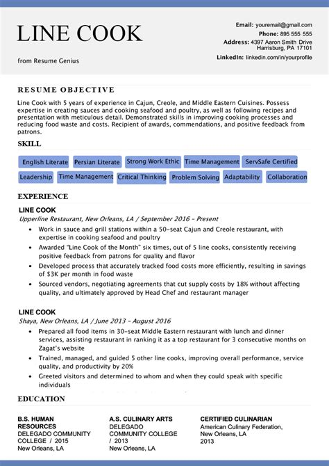 Cv Format For Cook by Line Cook Resume Sle Writing Tips Resume Genius