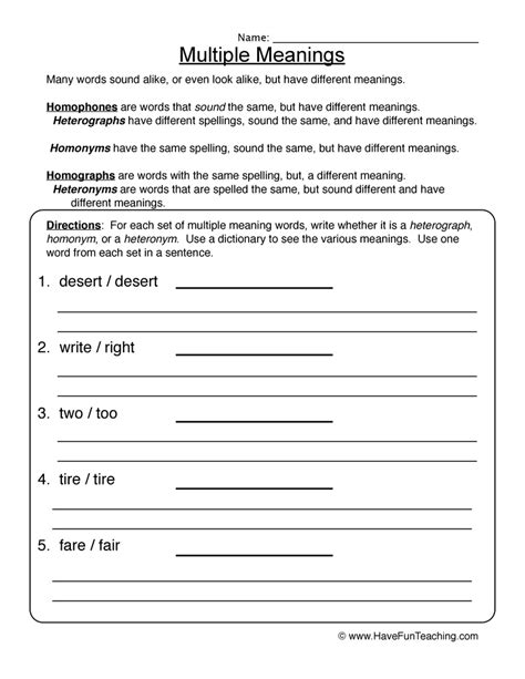 printables meaning words worksheets 3rd grade