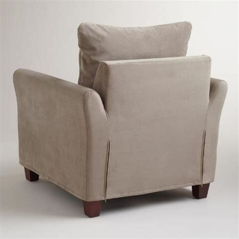 gray mink velvet luxe chair slipcover world market